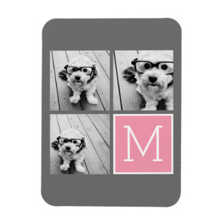 Trendy Instagram Photo Collage Custom Monogram Magnet