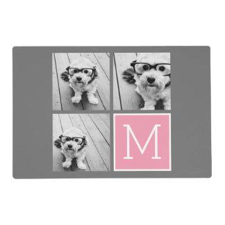 Trendy Instagram Photo Collage Custom Monogram Placemat
