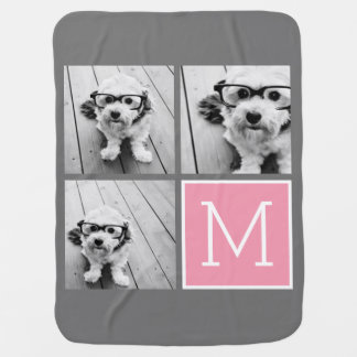 Trendy Instagram Photo Collage Custom Monogram Receiving Blanket