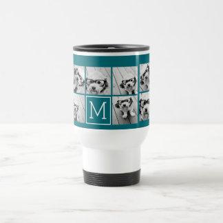 Trendy Instagram Photo Collage Custom Monogram Travel Mug