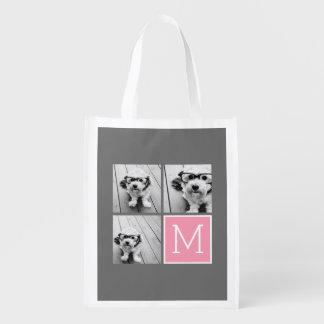 Trendy Instagram Photo Collage Custom Monogram Reusable Grocery Bags