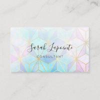 Trendy Iridescent & Pastel Geometric Design Business Card