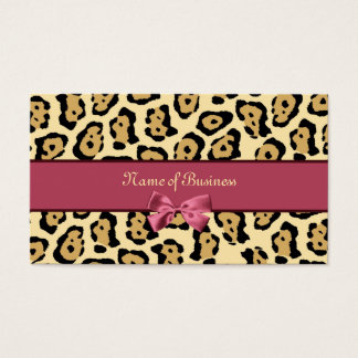Trendy Jaguar Print With Pink Ribbon Business Name Business Card