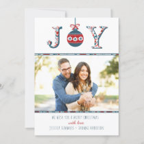 "Trendy ""Joy"" Boho Bauble Photo Christmas Card"