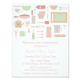 Trendy Kitchen Cooking Utensils Bridal Shower 4.25x5.5 Paper Invitation Card