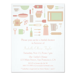 Trendy Kitchen Cooking Utensils Bridal Shower Card