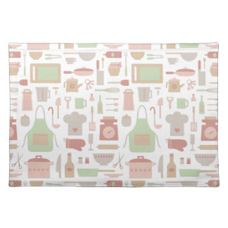 Trendy Kitchen Cooking Utensils Pattern Cloth Placemat