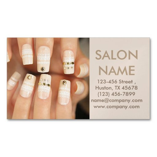 Trendy Lace Nails Fashion Beauty Spa Nail Salon Magnetic Business Cards Pack Of 25 Zazzle