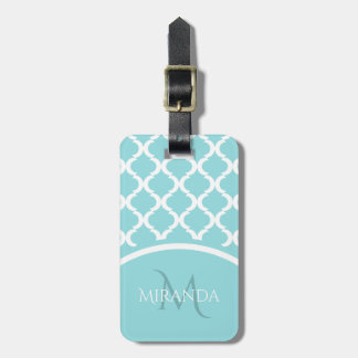 Trendy Large Aqua Quatrefoil Monongram and Name Luggage Tag