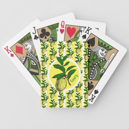 Trendy Lemon Yellow Stripes Fruit Leaves Monogram Bicycle Playing Cards