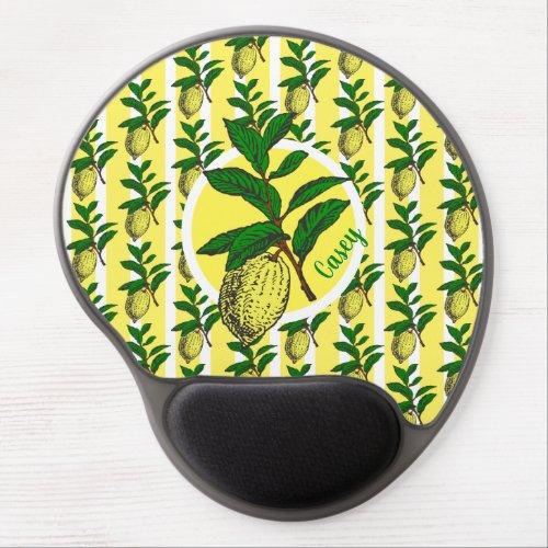 Trendy Lemon Yellow Stripes Fruit Leaves Monogram Gel Mouse Pad