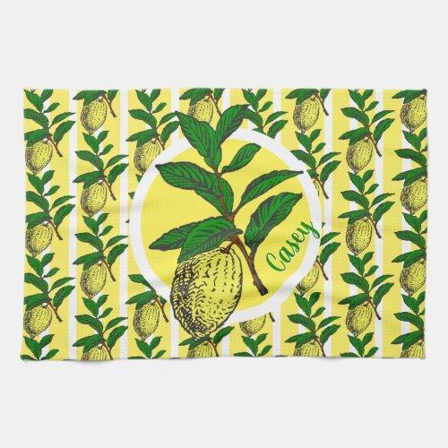Trendy Lemon Yellow Stripes Fruit Leaves Monogram Hand Towel