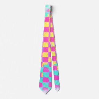 Trendy Lemonberry Mint Grungy Checkerboard Pattern Neck Tie