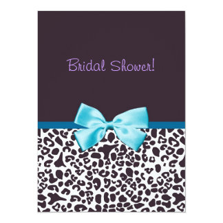 Trendy Leopard Print and Blue Ribbon Bridal Shower 5.5x7.5 Paper Invitation Card