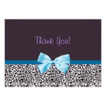 Trendy Leopard Print and Blue Ribbon Thank You Personalized Invitation