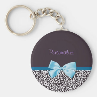 Trendy Leopard Print and Blue Ribbon With Name Basic Round Button Keychain