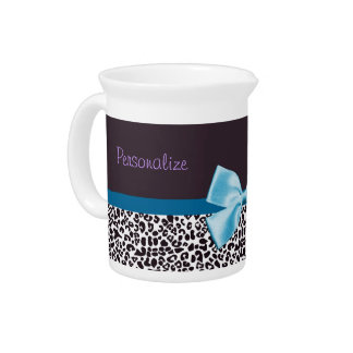 Trendy Leopard Print and Blue Ribbon With Name Beverage Pitcher