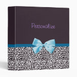 Trendy Leopard Print and Blue Ribbon With Name Binder