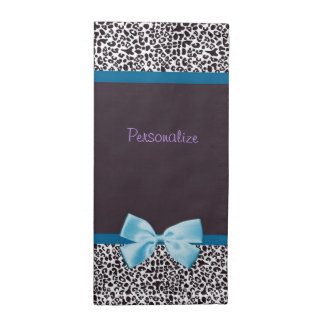Trendy Leopard Print and Blue Ribbon With Name Cloth Napkin
