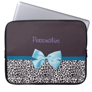 Trendy Leopard Print and Blue Ribbon With Name Computer Sleeves