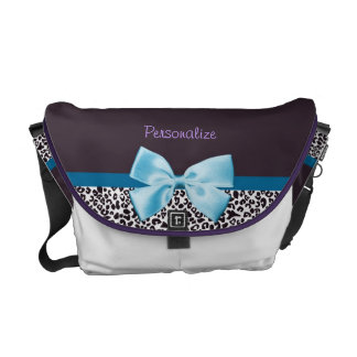 Trendy Leopard Print and Blue Ribbon With Name Courier Bag