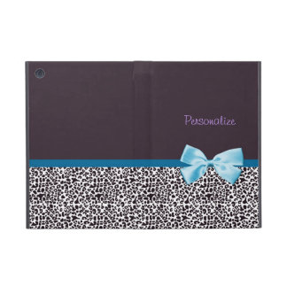 Trendy Leopard Print and Blue Ribbon With Name iPad Mini Cover