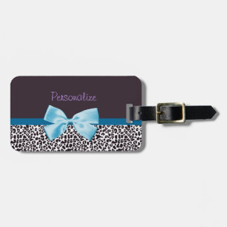 Trendy Leopard Print and Blue Ribbon With Name Luggage Tag