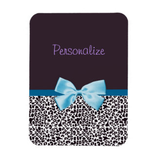 Trendy Leopard Print and Blue Ribbon With Name Magnet
