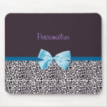 Trendy Leopard Print and Blue Ribbon With Name Mouse Pad