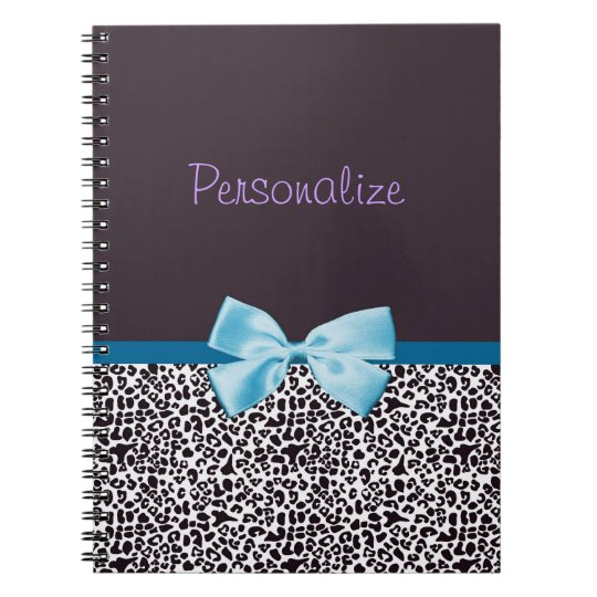 Trendy Leopard Print and Blue Ribbon With Name Notebook