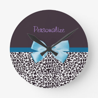 Trendy Leopard Print and Blue Ribbon With Name Round Clock