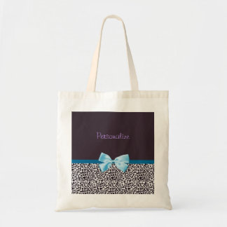 Trendy Leopard Print and Blue Ribbon With Name Tote Bag