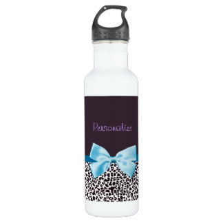 Trendy Leopard Print and Blue Ribbon With Name Water Bottle