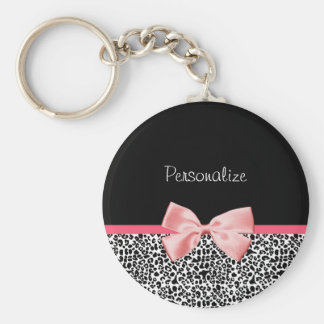 Trendy Leopard Print and Pink Ribbon With Name Basic Round Button Keychain