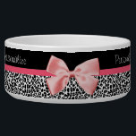 "Trendy Leopard Print and Pink Ribbon With Name Bowl<br><div class=""desc"">A trendy black and white leopard print item with a cute pink ribbon bow wrapped like a present. Personalize by adding your pet cat or dog name. Perfect present for your little fashionista pet!</div>"