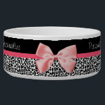 """Trendy Leopard Print and Pink Ribbon With Name Bowl<br><div class=""""desc"""">A trendy black and white leopard print item with a cute pink ribbon bow wrapped like a present. Personalize by adding your pet cat or dog name. Perfect present for your little fashionista pet!</div>"""