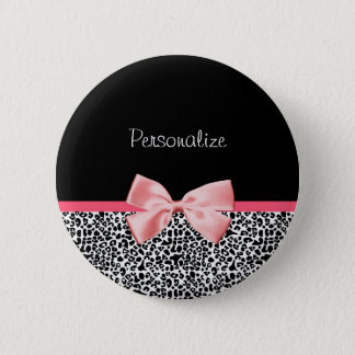 Trendy Leopard Print and Pink Ribbon With Name Button