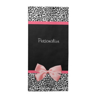 Trendy Leopard Print and Pink Ribbon With Name Cloth Napkin