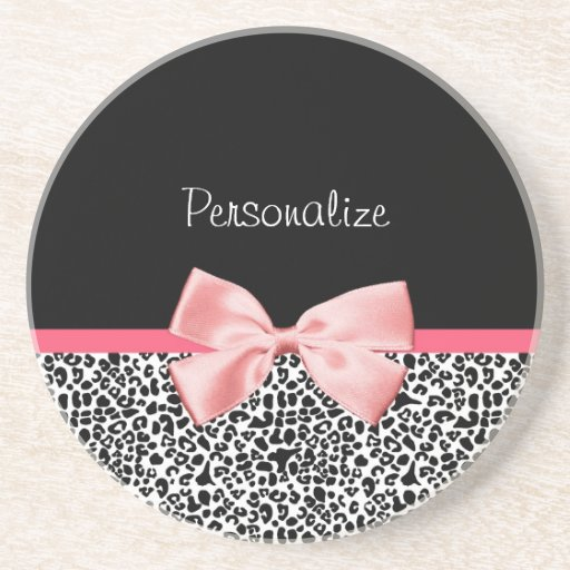 Trendy Leopard Print and Pink Ribbon With Name Coaster
