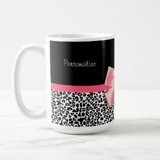 Trendy Leopard Print and Pink Ribbon With Name Coffee Mug
