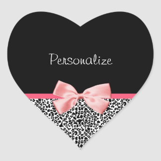 Trendy Leopard Print and Pink Ribbon With Name Heart Sticker