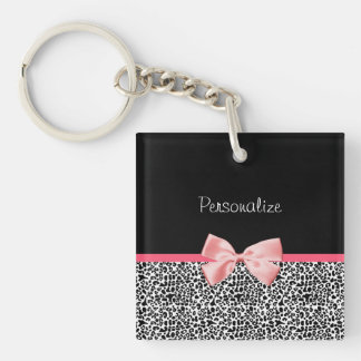 Trendy Leopard Print and Pink Ribbon With Name Square Acrylic Keychain
