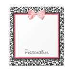 Trendy Leopard Print and Pink Ribbon With Name Memo Notepads