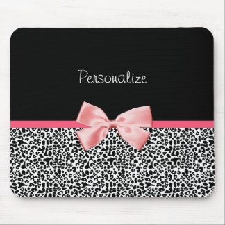Trendy Leopard Print and Pink Ribbon With Name Mouse Pad
