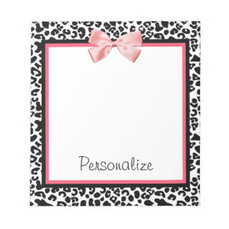 Trendy Leopard Print and Pink Ribbon With Name Note Pad