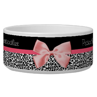 Trendy Leopard Print and Pink Ribbon With Name Dog Water Bowl