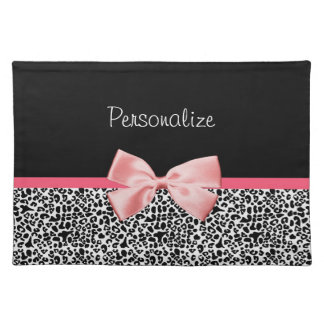Trendy Leopard Print and Pink Ribbon With Name Place Mat
