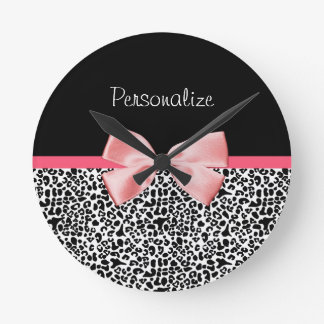 Trendy Leopard Print and Pink Ribbon With Name Round Clock
