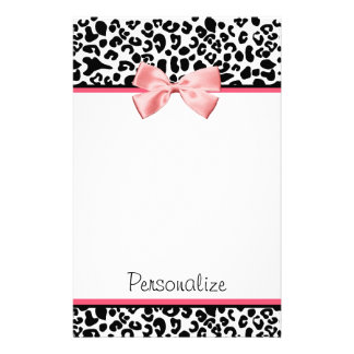 Trendy Leopard Print and Pink Ribbon With Name Stationery