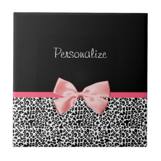 Trendy Leopard Print and Pink Ribbon With Name Tile